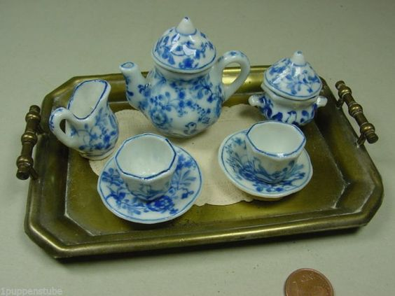 """Z1396/ Antik Blau-weiß """"Tete à Tete"""" Puppenstube mit Tablett ca.1920   eBay"""