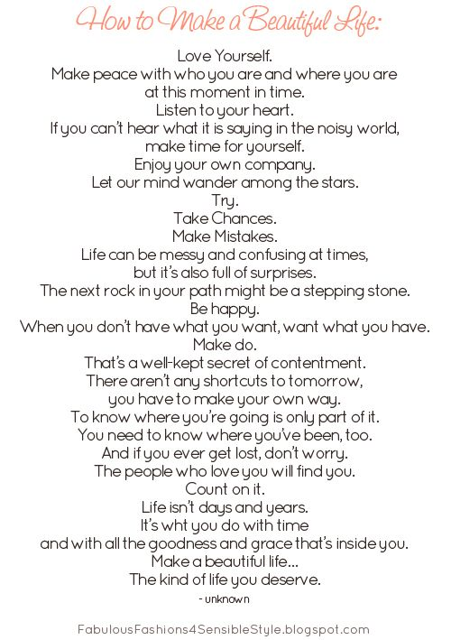 How to Make a Beautiful Life Saying