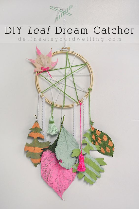 Simple DIY Leaf Dream Catcher!  Collect leaves and add your favorite colors.  Delineate Your Dwelling for Land of Nod: