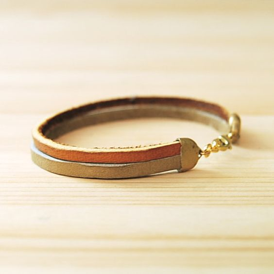 Leather Bracelet in Tan  Beige The Pecos by sonofasailor on Etsy, $25.00