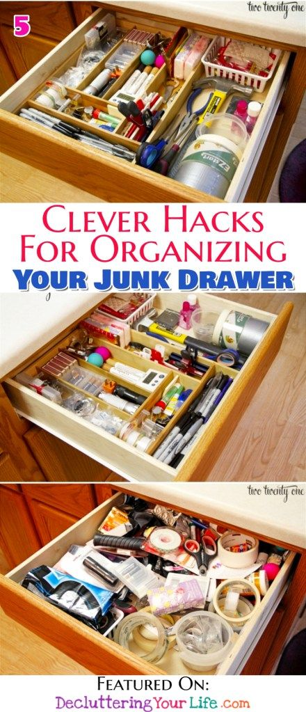 Junk Drawer Organization Tips Genius Organizing Ideas For All Junk Drawers Decluttering Your Life Junk Drawer Organizing Dollar Store Diy Organization Junk Drawers
