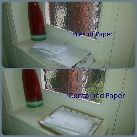"""Containing Piles of Paper - have a nice container (something that suits your personality, your style, your environment) that will hold all that paper together, keep it tidy - this will prompt you to open it the day of the week that you have carefully allocated to """"catch up"""" with mail. Keep the container visible and preferably close to your entrance."""