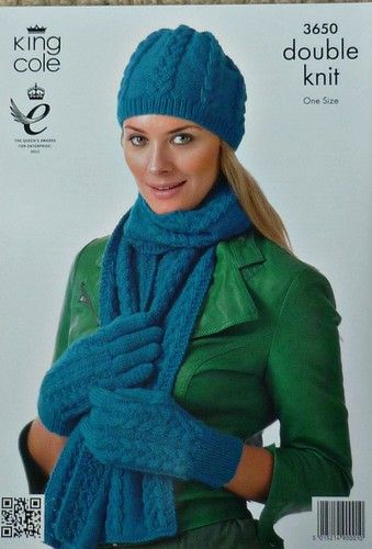 Knitting Pattern Ladies Cable Hat Scarf & Gloves DK KC | #knit