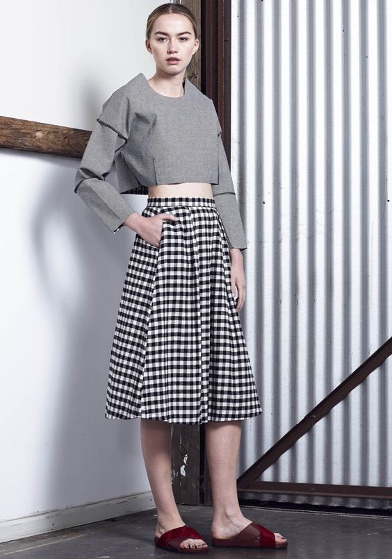 CHLOE CHECK SKIRT - Black / White