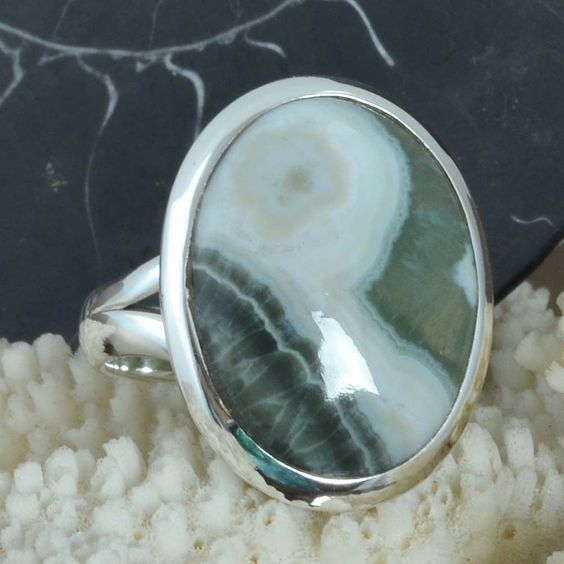 MODERN 925 SOLID STERLING SILVER Ocean Jasper FANCY RING 6.02g DJR9623 SZ-8 #Handmade #Ring