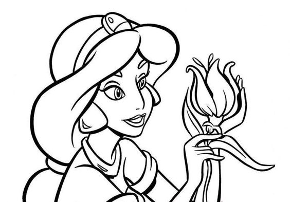 Jasmine Coloring Pages Pdf : Download and print princess jasmine flower coloring page