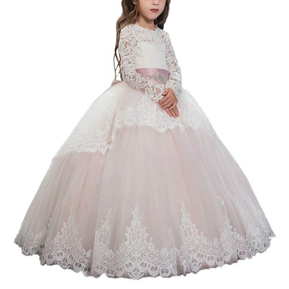Amazon.com: Pink Lace Up Long Sleeves Flower Girl First Communion Dresses Custom Ivory: Clothing