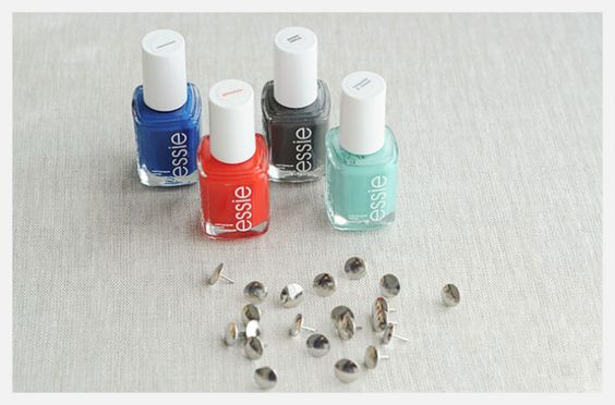 DIY. A simple way to brighten up the office space: Nail polish push pins