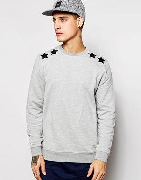 ASOS Sweatshirt With Star Applique Shoulders