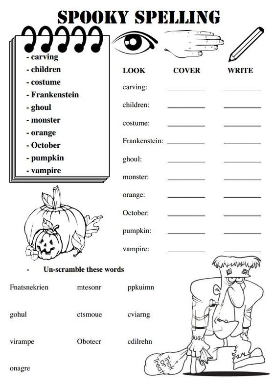 these worksheets are for a set of weekly spelling words with a halloween theme places to. Black Bedroom Furniture Sets. Home Design Ideas