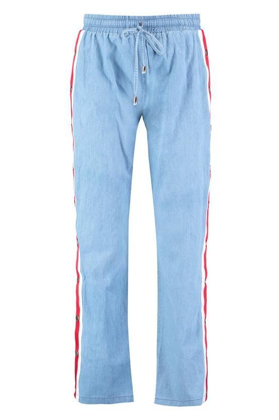 Boohoo Pantalones De Correr En Denim Con Broches De Presion Laterales Y Rayas En Contraste Carly Moda Para Mujer Ropa Moda