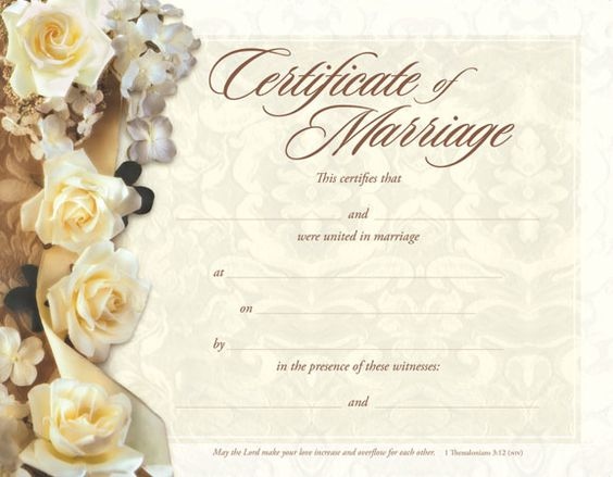 Marriage certificate marriage and certificate templates for Wedding anniversary certificate template