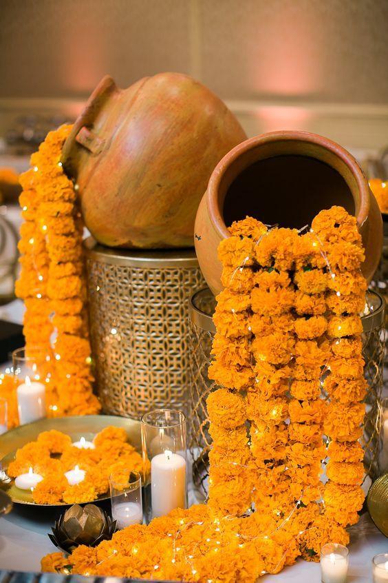 Dark Orange Diwali Dia de Los Muertos Housewarming Baby Shower Fake Flower Decoration R and D Handicrafts Marigold Garland Artificial Flowers Cinco de Mayo 4.5 Ft Indian Wedding 5 Strands