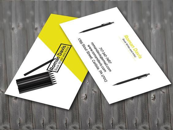 Writer Business Card Design Business Card Design Card Design Business Cards Collection