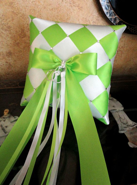 Wedding Ring Bearer Pillow Lime Green White or by SisiCreations, $48.00