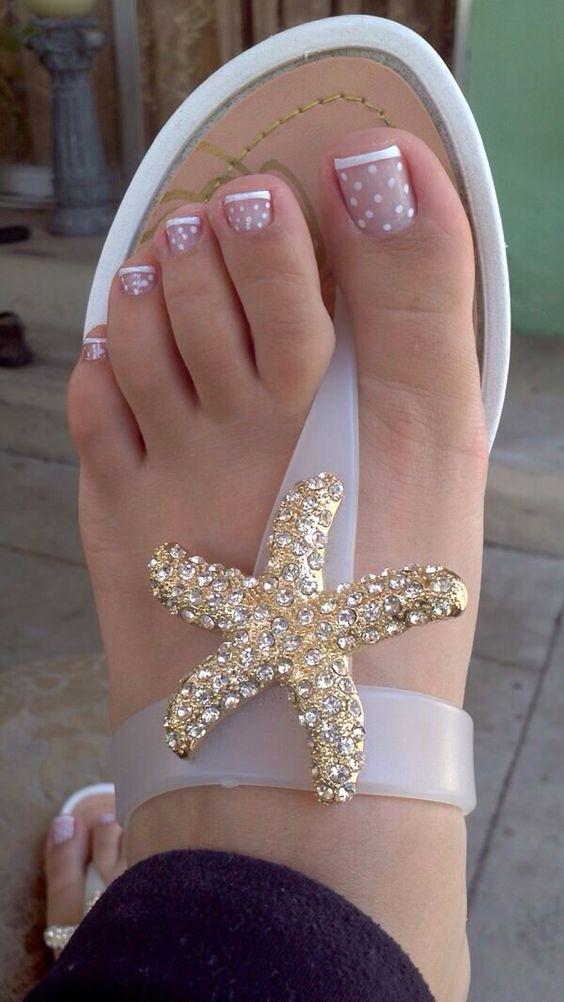 White French Tip Polka Dot Pedi nails nail art. Okay, the sandals are adorable too!
