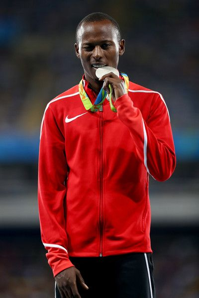 Silver medalist, Boniface Mucheru Tumuti of Kenya, poses on the podium during the medal ceremony for the Men's 400m Hurdles on Day 13 of the Rio 2016 Olympic Games at the Olympic Stadium on August 18, 2016 in Rio de Janeiro, Brazil.