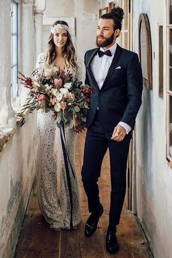 18 Groomsmen Attire For Perfect Look On Wedding Day ❤️ groomsmen attire navy jacket with bow tie  #weddingforward #wedding #bride