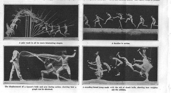 """E.J. Marey, Chronophotographs from """"The Human Body in Action,"""" Scientific American, 1914  _ Fotos em sequencia, demonstravam a lacuna entre o que o cerebro pensa que ve e o que os olhos realmente percebem, locomocao animal e usado ate hoje."""