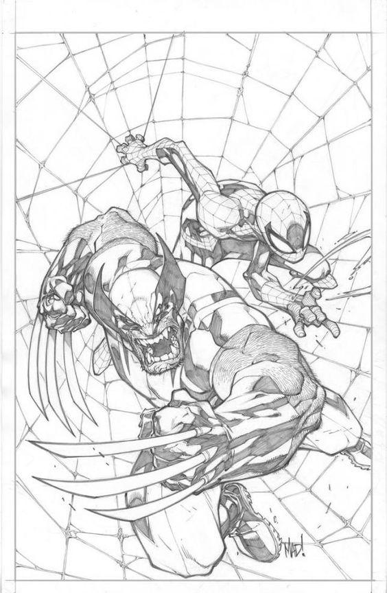 Wolverine y Spidey a lápiz
