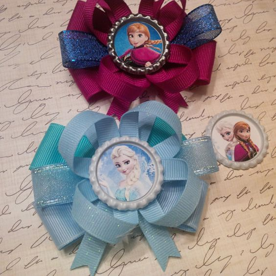 "1 Small 3"" Frozen Disney Bottlecap Stacked Bow Elsa Anna Toddler by #LaPrincesseBows Party Favor Birthday"