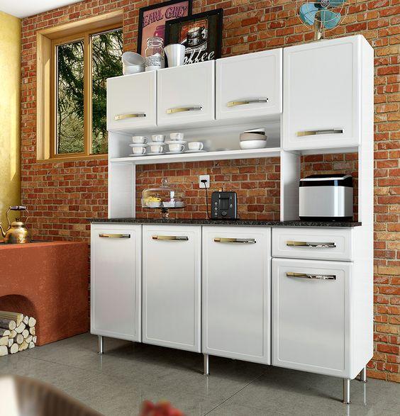 Kit 160 cm de largura Coleção Bella | Cozinhas Bertolini Cozinha compacta de aço