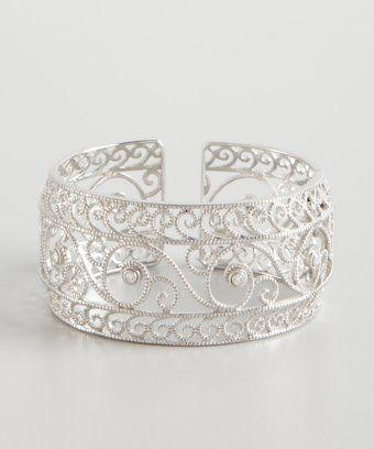 Leslie Greene : sterling silver and diamond swirl cutout cuff
