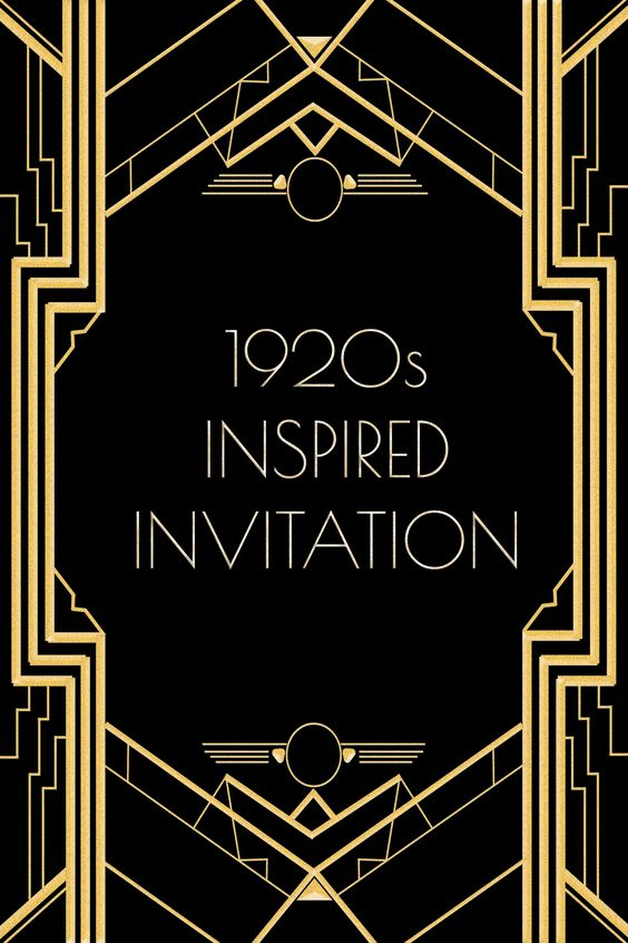 Use this 1920s inspired invitation template for a Gatsby or flapper themed party. Free to use ...