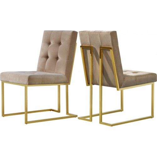 Beige Velvet Modern Boxy Geometric Dining Chair Gold Legs Set Of 2