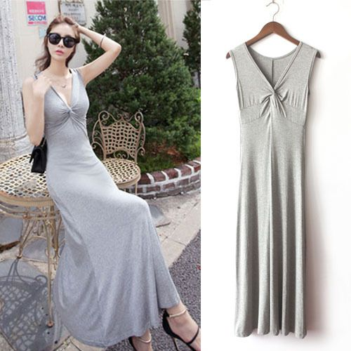 Brief Solid Color Long Dresses