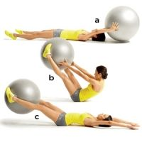 15-Minute Workout: Fresh Flat Belly Moves (pictured: Stability Ball V-Pass)