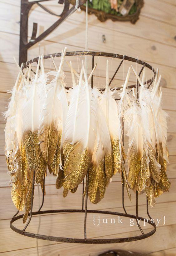 DIY feather lampshade chandelier from JUNK GYPSIES season 2 on @gactv