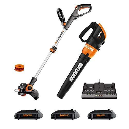 Worx Wg921 1 Cordless 20v 12 Trimmer And Turbine 20v Cordless Blower 3 20v Batteries And 2 Hr Dual Charger Included Review Trimmers Turbine Blowers