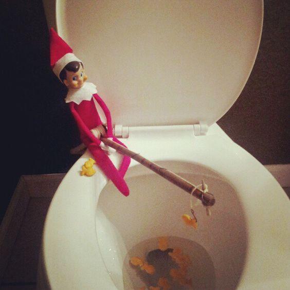 Elf on a shelf fishing in the toilet december daily elf for Elf on the shelf fishing