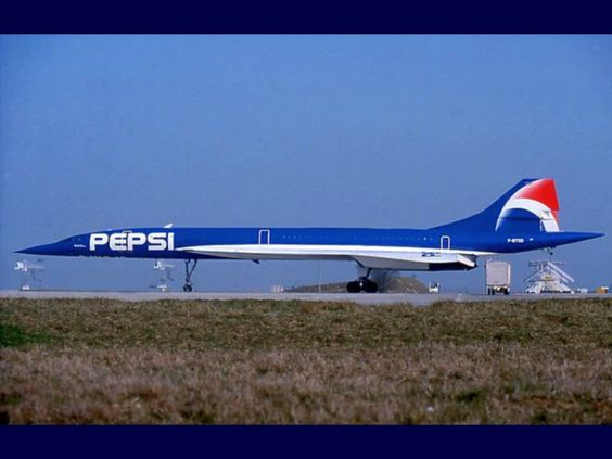 One of the Air France Concordes that was temporarily Pepsi branded. Couldn't fly supersonic painted like this though.