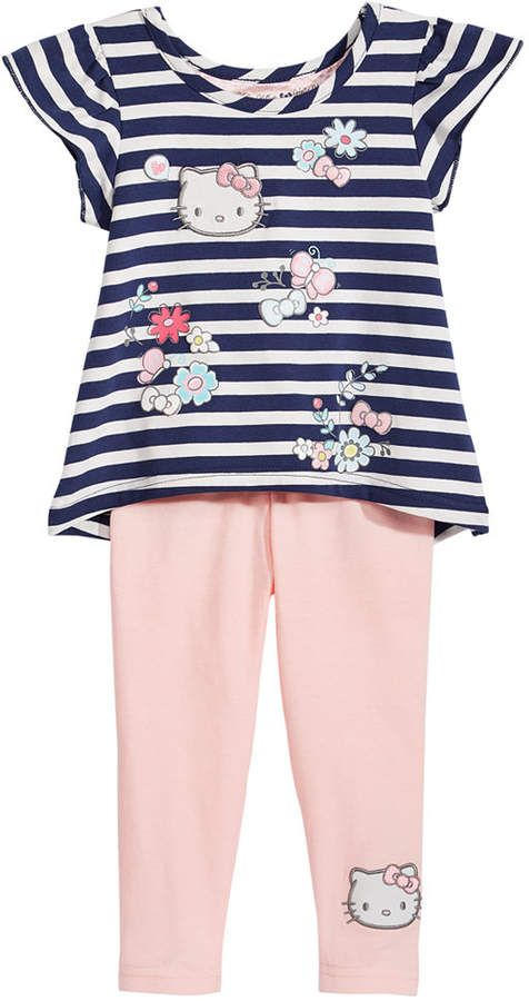 Baby Girls Hello Kitty Striped Top /& Pant Set