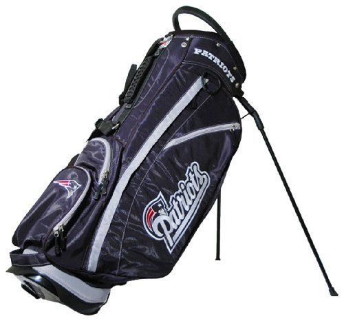 NFL New England Patriots Stand Golf Bag by Team Golf. $129.99. Umbrella holder and towel ring. 2 lift assist handles and cooler pocket. 6 location embroidery and 5 zippered pockets. Fleece-lined valuables pouch and removable rain hood. Integrated top handle and 14-way full length dividers. NFL New England Patriots Stand Golf Bag (14 Way Dividers)