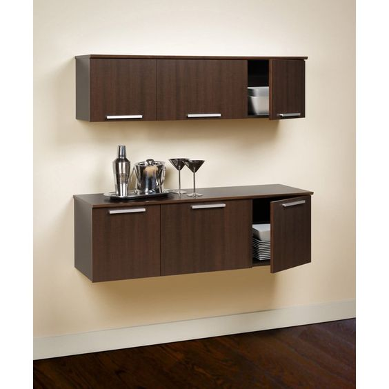 Coal Harbor 2 pc. Wall Mounted Buffet & Hutch - Espresso | from hayneedle.com