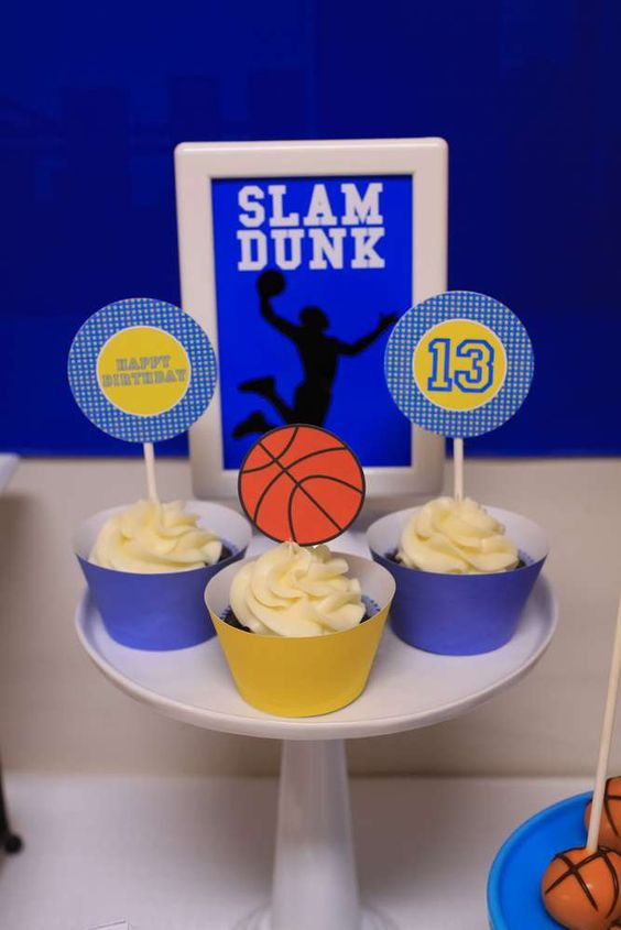 Basketball birthday party cupcakes! See more party planning ideas at CatchMyParty.com!