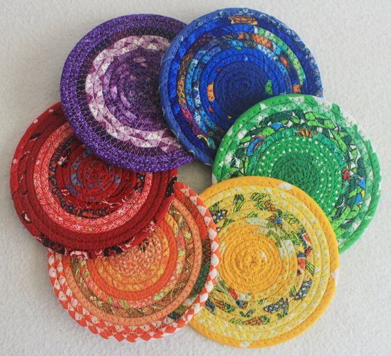 coiled fabric basket coil fabric and more fabric coasters fabrics ...