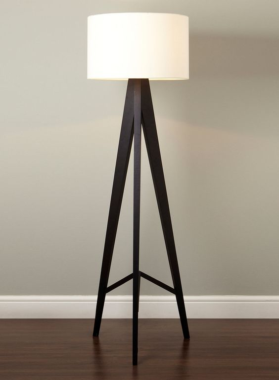 Cute tripod floor lamp design inspiration come with cream for Drum shaped lamp shades