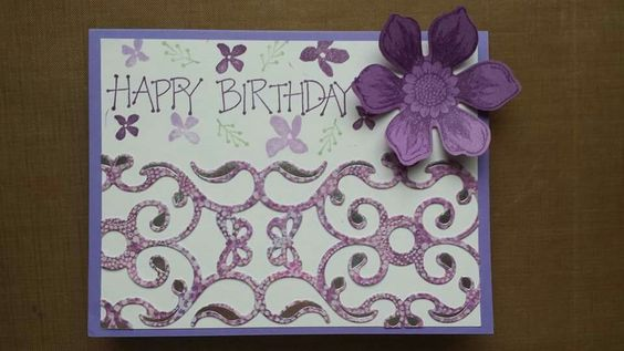 This card was made with paper and cutouts from general craft stores.  I used Stampin Up stamp sets Botanicals For You, Beautiful Bunch and Greetings 4 You.  For the flower cutout I used the matching Stampin Up punch.   For ink I used Versa Magic Aloe Vera and Spring Pansy as well as Stampin Up Eggplant Envy.