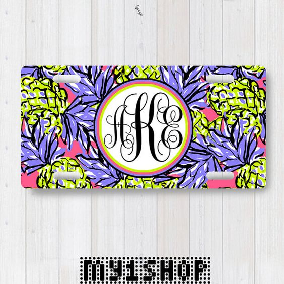 Personalized Monogram License Plate. Custom License by my1shop