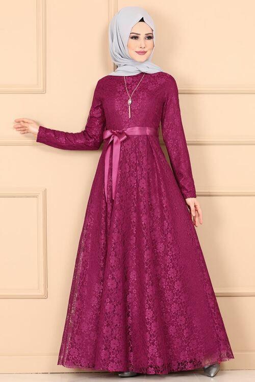 Modaselvim Elbise Saten Kusakli Dantel Elbise 5666mp186 Sarabi Dresses High Neck Dress Long Sleeve Dress