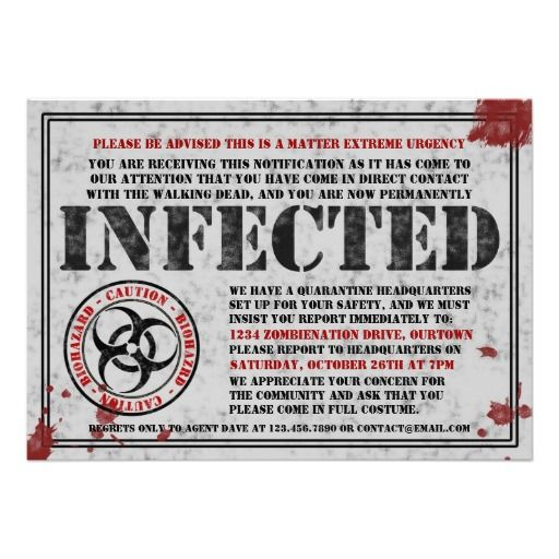 Infected Notice Zombie Halloween Party Invitations http://www.zazzle.com/infected_notice_zombie_halloween_party_invitations-161646708702414289?rf=238588924226571373