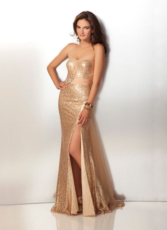 Antique Gold 2012 Prom Dress 17159  Seasons Lace and Antique gold