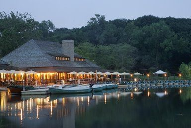 The Boat House in Forest Park-  St. Louis, Missouri   Have a drink, eat dinner, listen to live music and take a boat out on the lake.