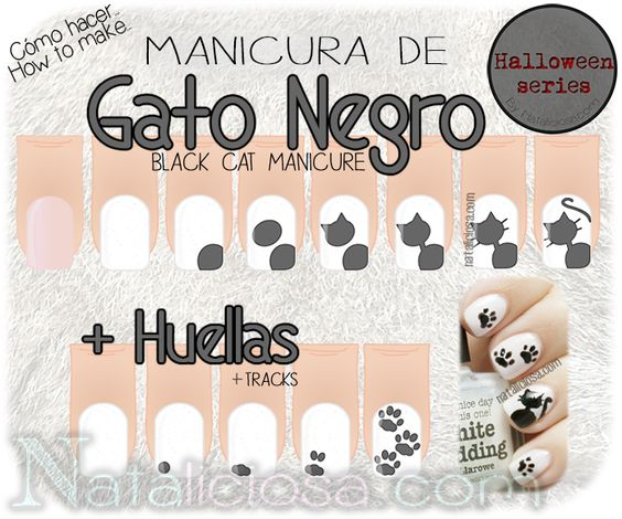 How to make black cat manicure nail art design