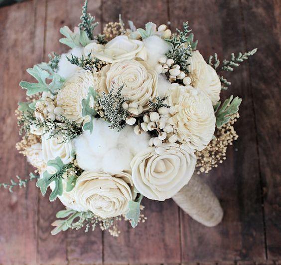 Wedding Bouquet - Luxe Collection Medium Ivory Dusty Miller Raw Cotton Keepsake Alternative Bouquet, Sola Bouquet, Rustic Wedding