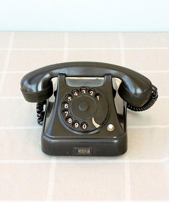 Vintage rotary phone 1950's black bakelite phone Antique telephone  Yugoslavian dial phone Classic desk phone Iskra - Vintage Rotary Phone 1950's Black Bakelite Phone Antique Telephone